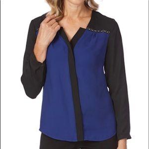 Liz Jordan Womens Blue Black Contrast Shirt